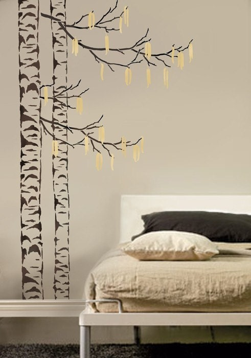 large tree stencil beautiful birches reusable stencils for. Black Bedroom Furniture Sets. Home Design Ideas