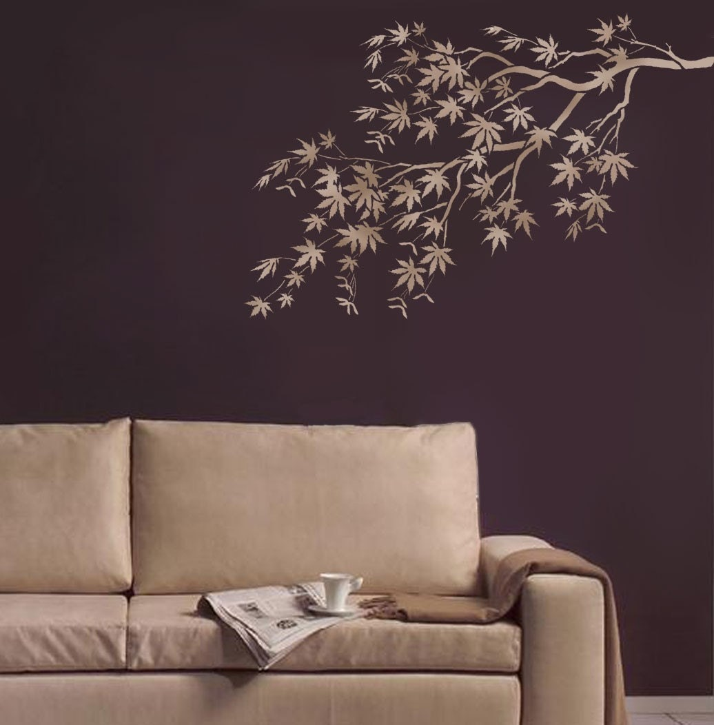 Stencil Design Wall Decor : Stencil japanese maple branch reusable stencils for easy
