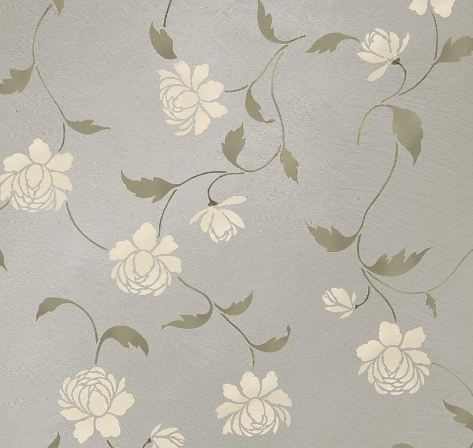 Stencil Peony Allover Floral Pattern Wall decor stenciling