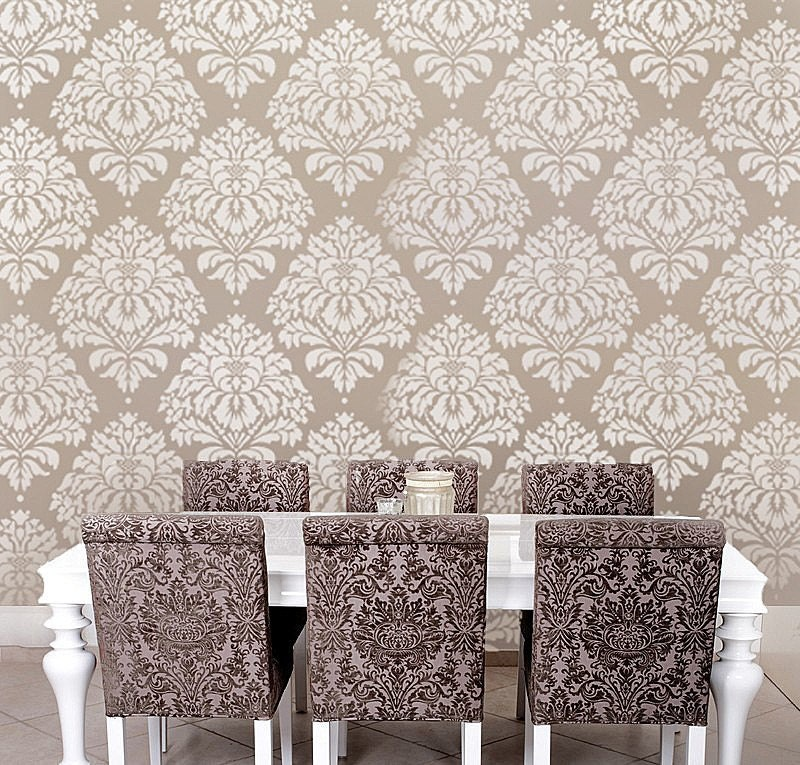 Wall Stencil Damask Kerry Lg Reusable Stencils For Diy Wall