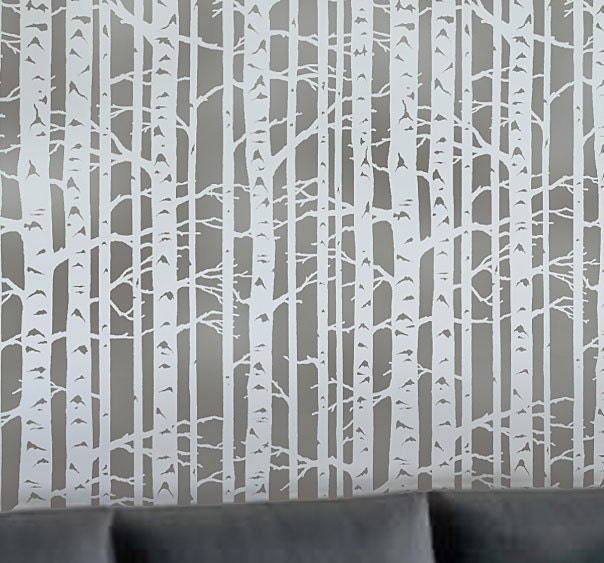 Wallpaper Wall Stencils : Birch forest allover stencil reusable stencils for walls