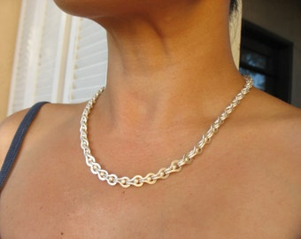 "Fine Silver Roman Chain Necklace 18""(Made to order)"