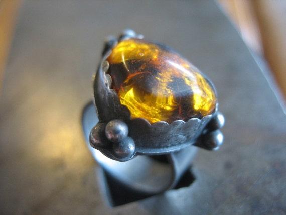 Rustic Amber Ring