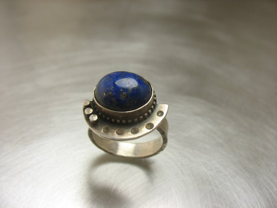 Sterling Silver with Lapiz Stone Spaceship Ring