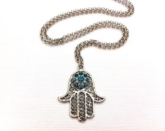Esther Necklace Hamsa Hand Silver with Turquoise Blue Crystal Evil Eye FREE SHIPPING