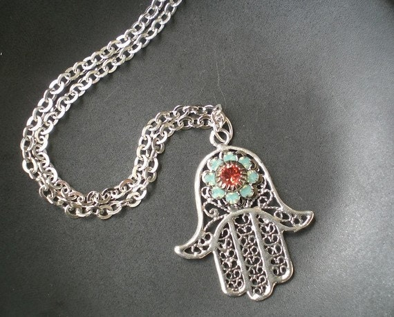 Esther Necklace Hamsa Hand Aqua Coral in Sterling Silver