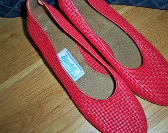 Vintage Women's Shoes Red Browsabouts Wedgies 9N