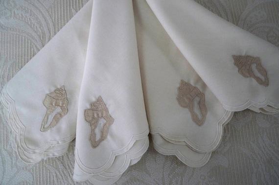 Vintage Set of Four Shell Napkins