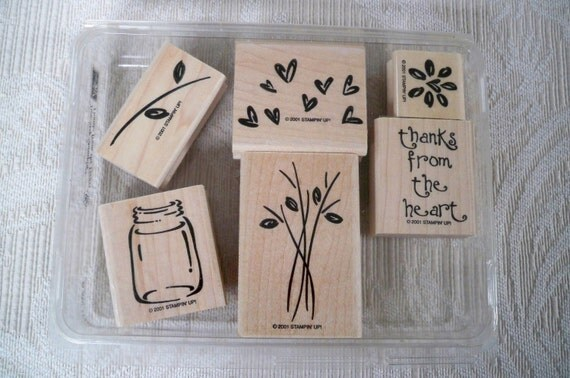 Thank You Stamp Set by Stampin Up Six Stamps 2001