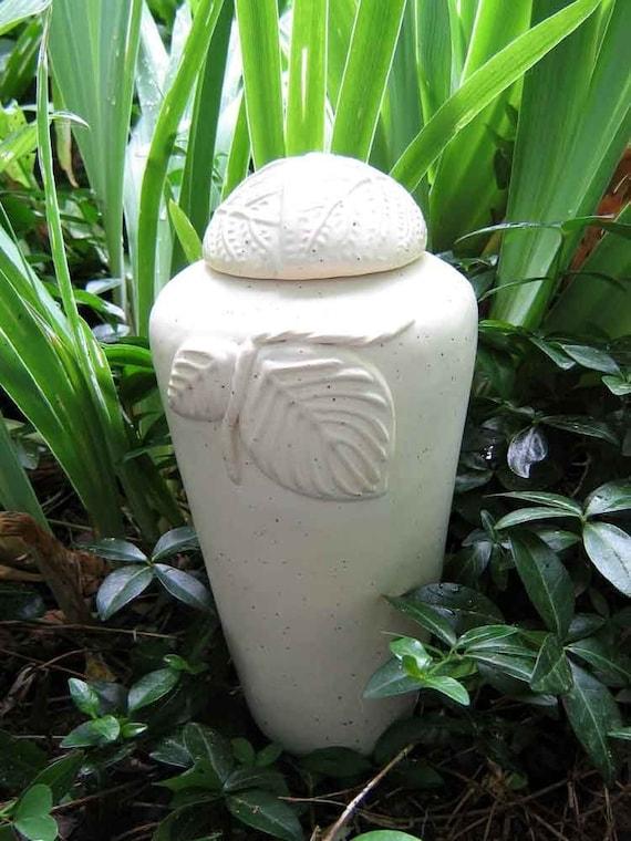 Half Sized Cream Speckled Leaf Urn /  handmade stoneware pottery