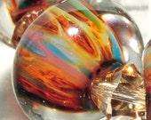 LampWork Glass Beads HandMade Boro By Brenda Scata set of 7 beads APACHE TEARS