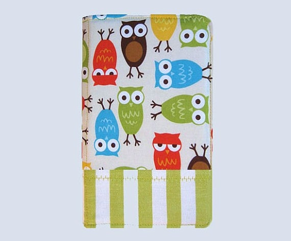 Kindle Cover Hardcover Kindle Case Cover Nook Cover Custom eReader Cover Owls Striped Border