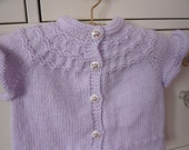 Hand Knitted Baby Sweater with Cat Buttons  0 - 6 months