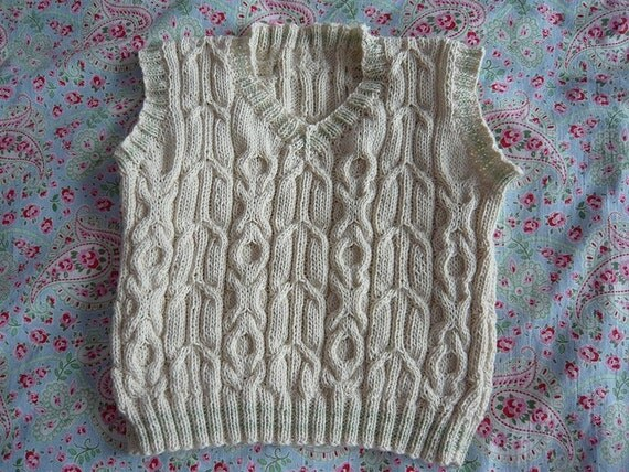 Hand Knitted Child / Boy  Cable Vest - 2 years old