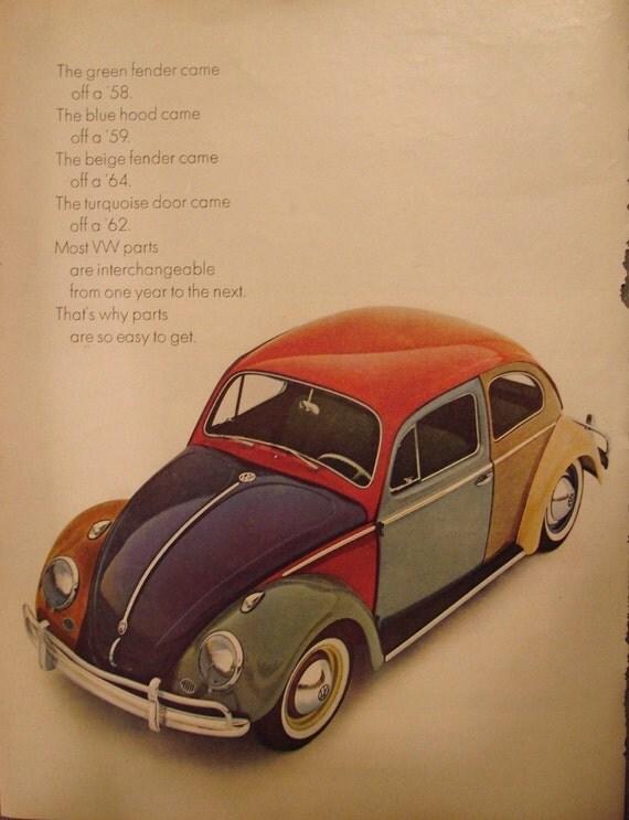 MULTI-COLORED VOLKSWAGEN VW BEETLE VINTAGE AD