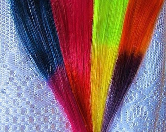 OMBRE, TWO TONE.Choose Color.Human Hair Clip In Extension. 8 Inches Long. Two inches wide