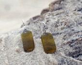 Recycled Glass Earrings - Chardonnay Wine Bottle