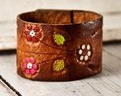 Artifact Leather Wristband Vintage Cuff Retro OOAK