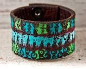 SALE Leather Bracelet Hand Painted Jewelry OOAK