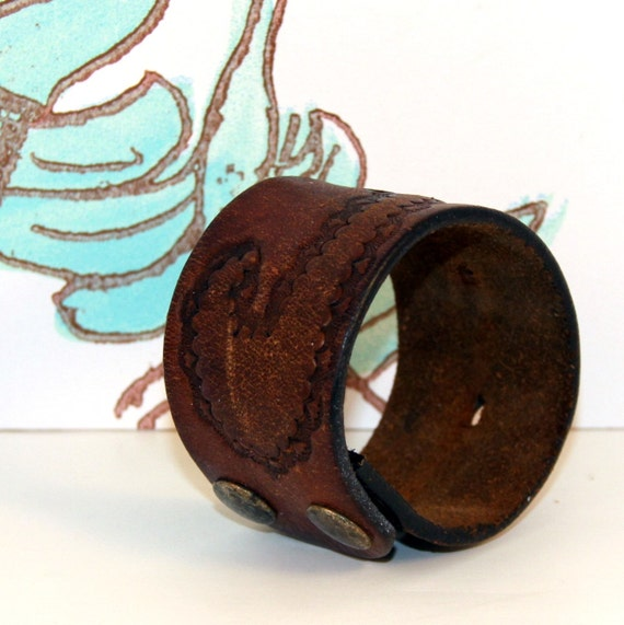 SALE Leather Cuff Wristband Vintage Jewelry OOAK CIJ