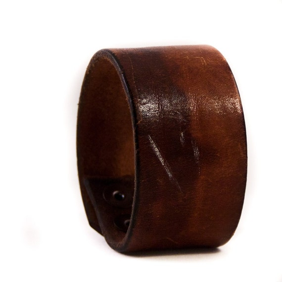 Men's Leather Cuff Wristband Gift for Him Free Shipping