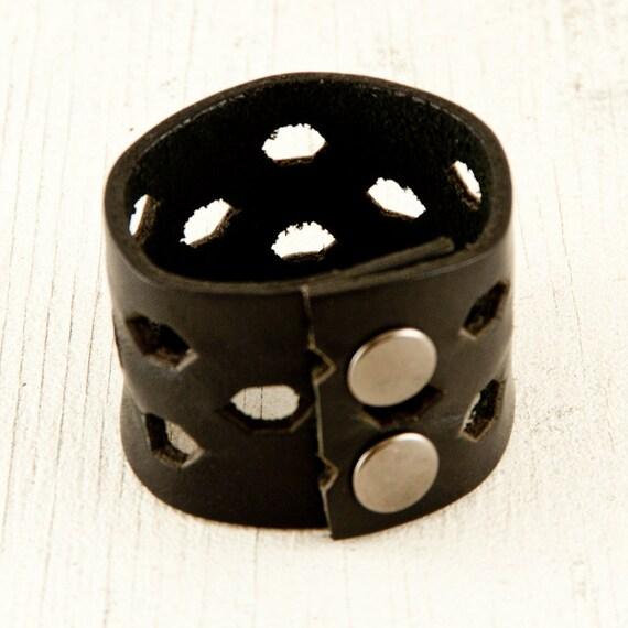 SALE Black Leather Cuff Wristband Bracelet