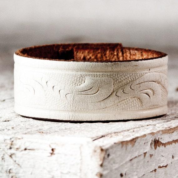 SALE White Leather Wristband Bracelet Cuff
