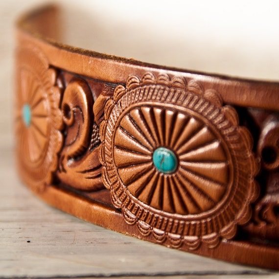 Tooled Leather Cuff Unique Jewelry
