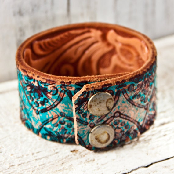 Turquoise Jewelry Handcarved Leather Wristband