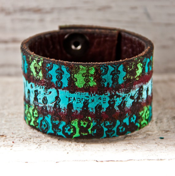 SALE Leather Bracelet Hand Painted Jewelry OOAK