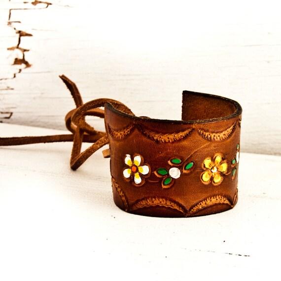 Brown Leather Jewelry Cuff Bracelet Wristband Winter  Fashion OOAK