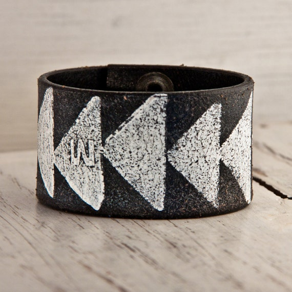 Christmas Gift Guide Chevron Tribal Native Jewelry Triangle Wristband Cuff Handmade Holiday Sale