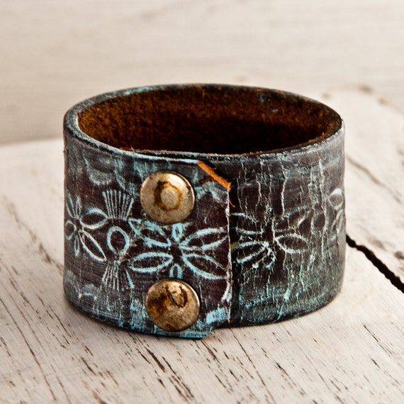 Women's Leather Cuff Jewelry Hand Tooled