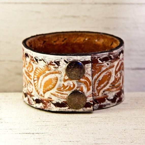 Leather Jewelry Cuff Bracelet Wristband OOAK