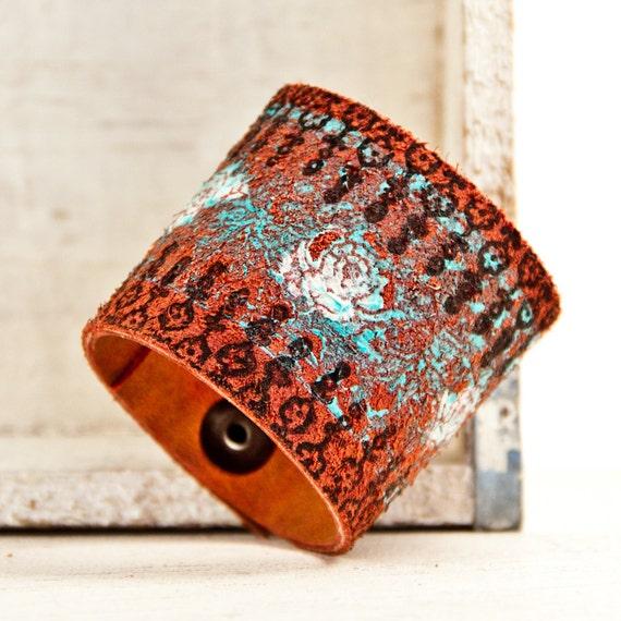 Painted Leather Bracelet Snap Cuff OOAK