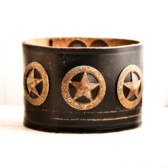 Men's Leather Cuff Bracelet Wristband OOAK