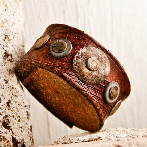 Gifts For Him Vintage Leather Cuff for Men OOAK Christmas December Sale Holiday Gift Guide