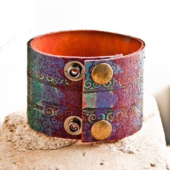 Geometric Shapes Handmade Leather Jewelry Cuff OOAK