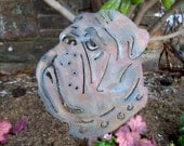 Bulldog garden stake - English bulldog art - Bulldog home decor - Outdoor living dog sculpture - Flowerbed bulldog decor