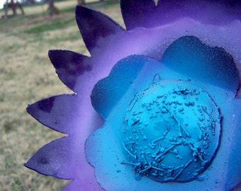 Metal flower art - Blue purple bloom - Outdoor metal flower sculpture - Backyard home decor - Flower metal sculpture - Yellow sunflower
