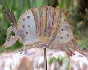 Armadillo metal stake - Metal armadillo yard art - Southwestern armadillo ornament garden stake - Armadillo flower bed art