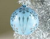 Blown Glass Christmas Tree Ornament Signature Series Chrome Blue Retro Etch