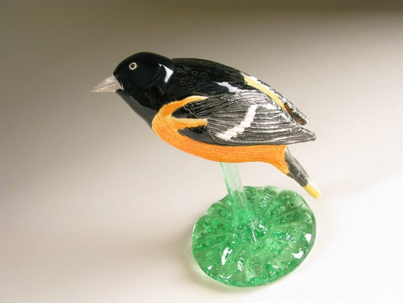 Ceramic Bird Scuplture Baltimore Oriole Hand Formed Pottery Bird