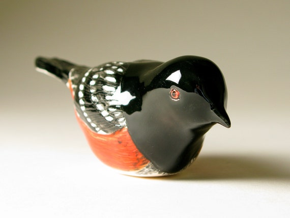 Pottery Bird Sculpture Hand Formed Spotted Towhee