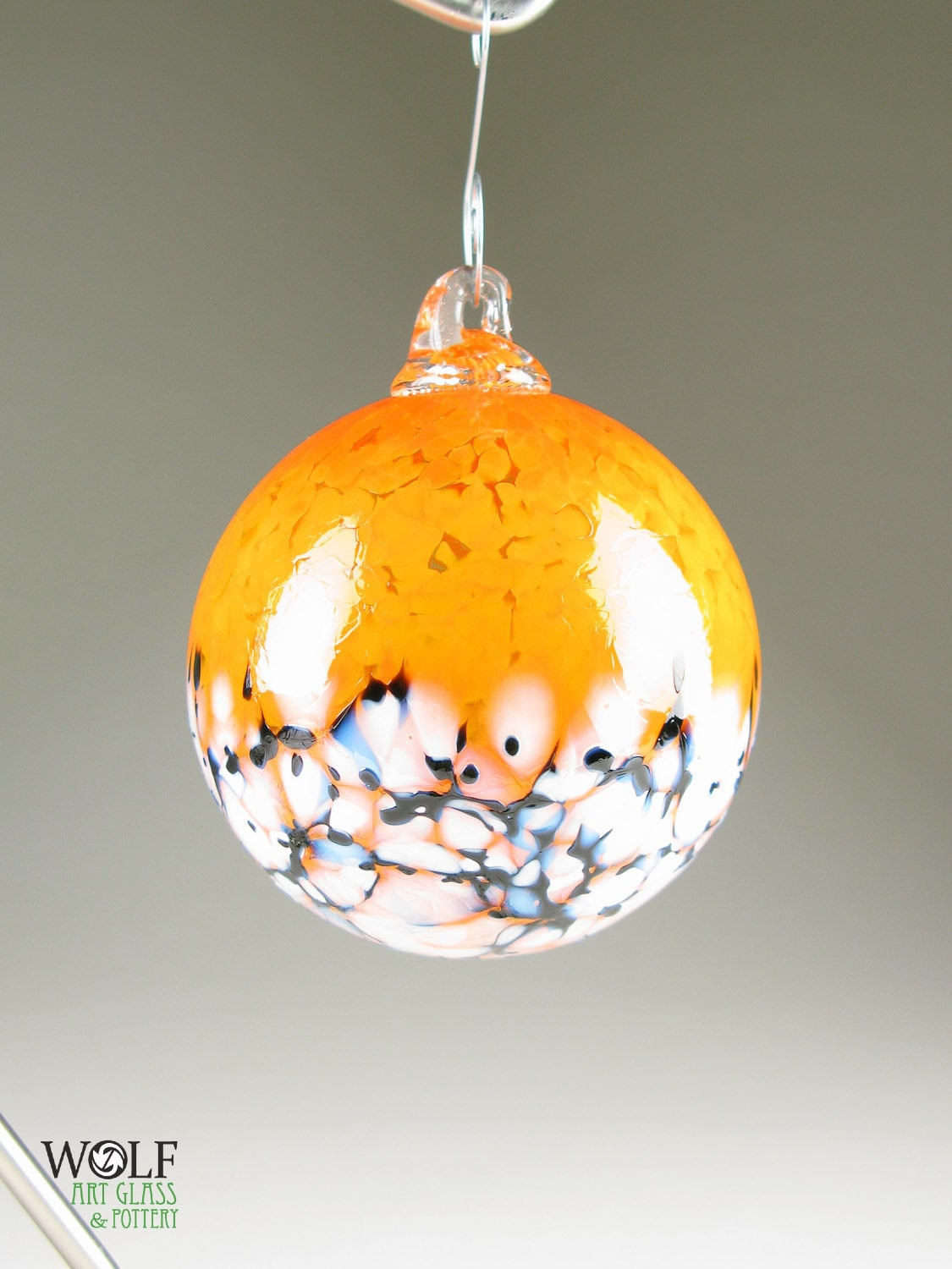 Blown glass ornament suncatcher ball tangerine orange blossom