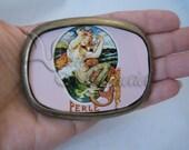 Sweet Mermaid Belt Buckle Vintage Art Nouveau Mermaid Postcard