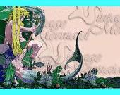 s317 Vintage  Art Nouveau King Triton & Mermaid Postcard Fabric Block Applique for Quilt.