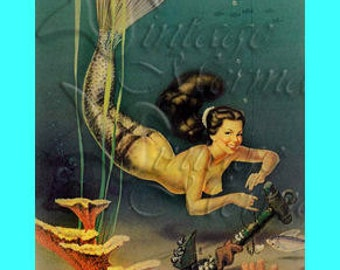 s136 PINUP MERMAID tricking Fisherman Postcard Fabric Block Applique for Quilts & Blankets