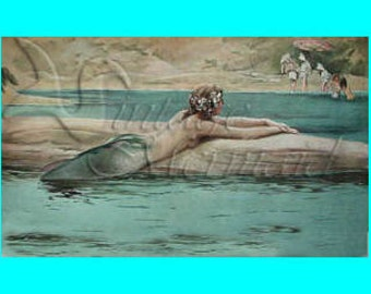 s146 VINTAGE VICTORIAN MERMAID Painting Fabric Mermaid Print  Block Mermaid Panel Applique for Quilt.
