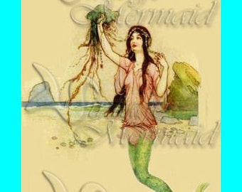 s164 VINTAGE EDWARDIAN MERMAID Fabric Block Panel Applique for Quilt.